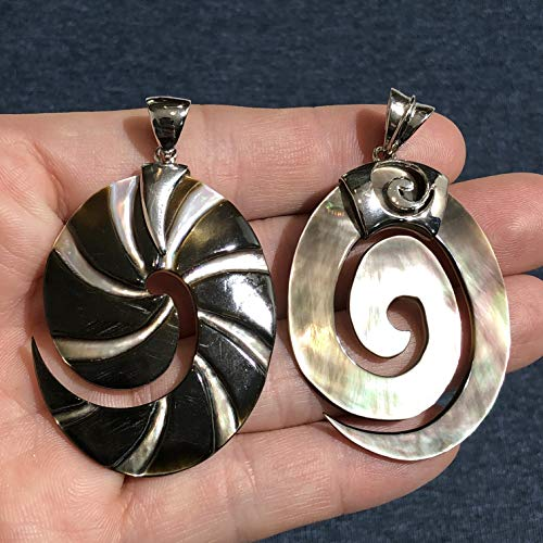 ([ABCgems] Tahitian Black Lip Oyster Shell Oval Shape (Hand-Carved Ammonite Or Maori Peace Patten) Pendant for Jewelry Making )