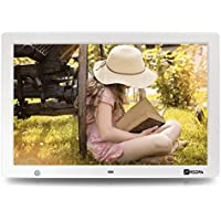 Arzopa 15.4 inch WideScreen Digital Photo & HD Video 1080p Frame Hi-Res 1280x800 with Motion Sensor Multifunction Advertising Player Support MP3 MP4 Video Clock Calendar (15inch White)