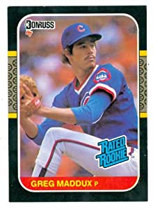 Greg Maddux baseball card 1987 Donruss Rated Rookie #36 (Chicago Cubs - Atlanta Braves hall of Famer rookie card)