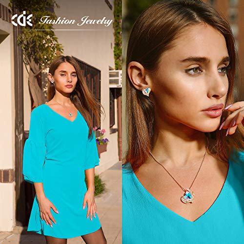 CDE Love Heart Necklaces and Earrings Jewelry Set for Women Rhodium Plated/Rose Gold Tone Crystals Birthstone Gifts for… 6