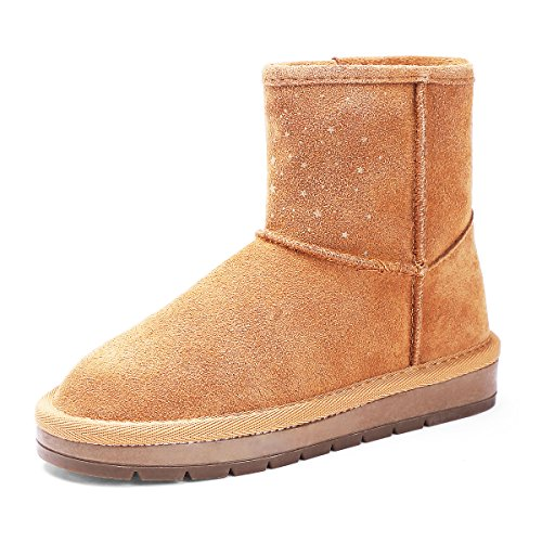 BTDREAM Girl's Fur Lined Winter Snow Boots Pull-On Style Flat Shoes