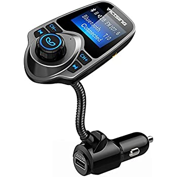 VicTsing Bluetooth FM Transmitter, Wireless In-Car Radio Transmitter Adapter/w USB Port, Support AUX Input 1.44 Inch Display TF Card Slot - Silver Grey