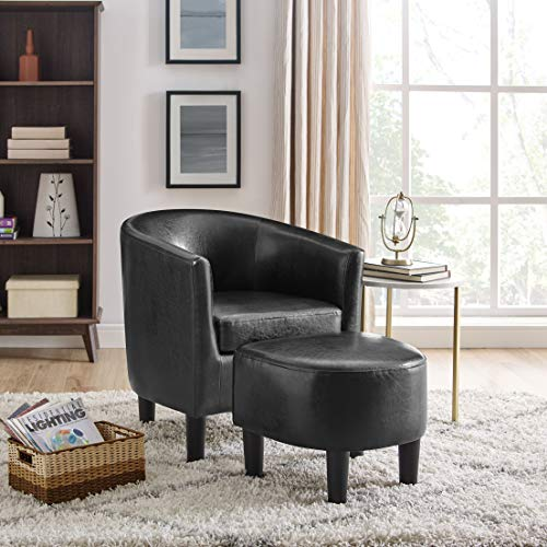 DAZONE Modern Faux Leather Accent Chair Upholstered Arm Chair Linen Fabric Single Sofa Barrel Chair with Ottoman Foot Rest Black