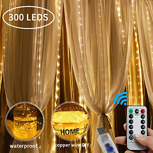 LOBKIN 300 LED Window Curtain String Light Fairy Lights Curtain String LED Light, USB Remote Control (Warm White)