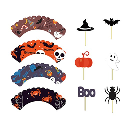 Amosfun 48pcs Halloween Cupcake Wrapper and Topper Cute Cake Decor Party Supplies for Festival Party Birthday (24pcs Cake Wrapper and 24pcs -
