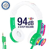 InFlight 3-Step Volume Limiting Kids Headphones | Durable, Comfortable & Customizable | Built in Headphone Splitter and In Line Mic | Perfect for Airplane Use | Green