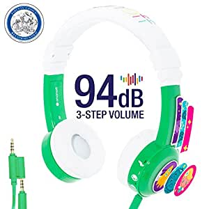 InFlight 3-Step Volume Limiting Kids Headphones - Durable, Comfortable & Customizable - Built in Headphone Splitter and In Line Mic - Perfect for Airplane Use - Green