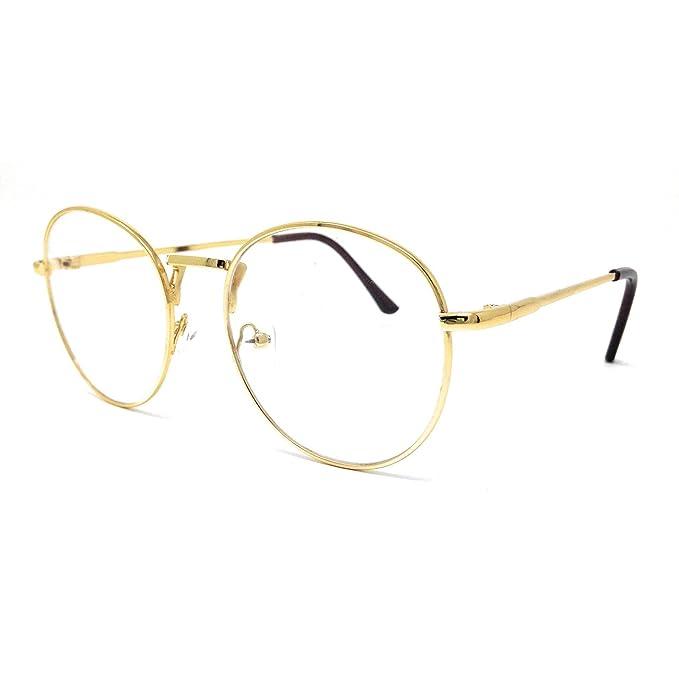 Gafas redonda con montura y patillas doradas.