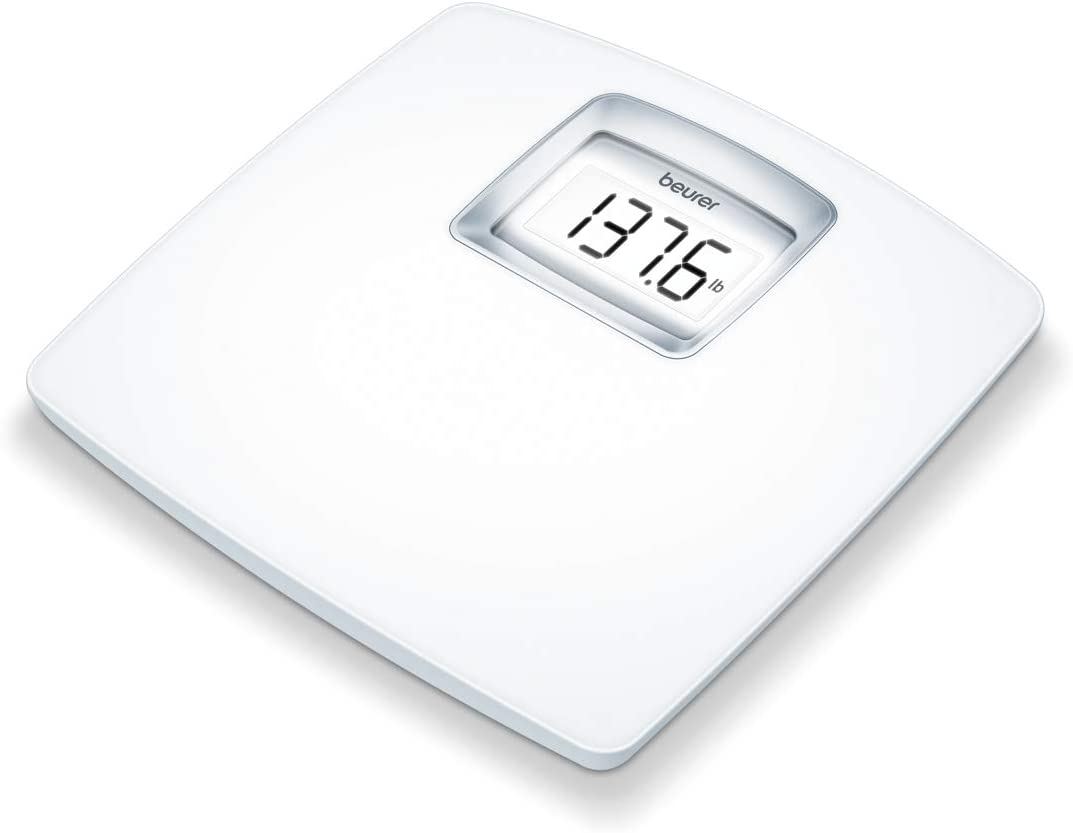 Beurer PS25 Personal Bathroom Scale | Smart & Accurate Body Weight Control | XL Scale with Illuminated LCD Display, high Precision Weighing | Timeless White Design | Quick Start, Batteries Included