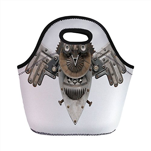 Hardware Decker (Neoprene Lunch Bag,Industrial,Stylized Collage with Owl Figure Cog Hardware Gear Machinery Animal Print Decorative,Grey White Brown,for Kids Adult Thermal Insulated Tote Bags)