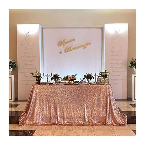 B-COOL 90inx132in Rectangle Rose Gold Sequin Tablecloth Sparkle Tablecloth Glitz Tablecloth Sequin Fabric Tablecloth - IT CAN NOT BE SEE THROUGH: 3MM round high density sequins material with mesh fabric backing. It won't drop the sequins. Pls Noted:The surface of fabric is SMOOTH which is not prickly. With a seam when the width is over 4ft. But it won't affect usage effect. High Workmanship: Elegant and beautiful sequin tablecloth round and rectangle glitz sequin table overlay sequin table linens. - tablecloths, kitchen-dining-room-table-linens, kitchen-dining-room - 51AoDCsbnoL. SS570  -