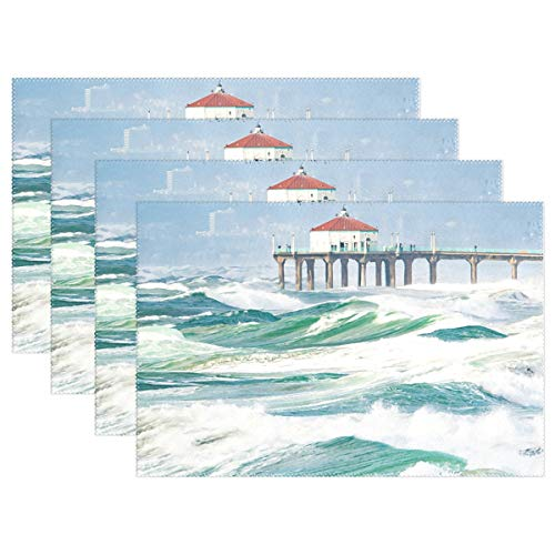 - HoDeColor Orange Pier Windy Day Placemat Table Mat, 12