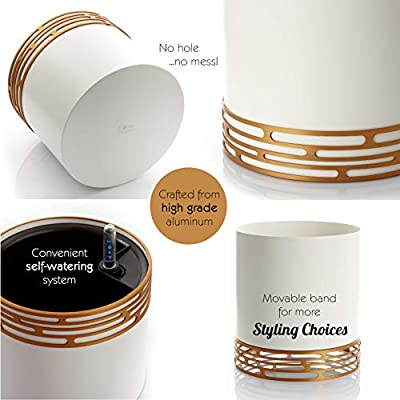SOW UNIQUE Self Watering Planter for Indoor use. Modern 7 Inch Solid Aluminum Leak Proof Designer Pot + Stylish Decorative Band Stand for Home or Office Plants, Flowers & Succulents (White/Gold) pots : Garden & Outdoor
