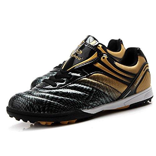 Tiebao Boys' Hard Ground Indoor Speed Black & Gold Patent Le