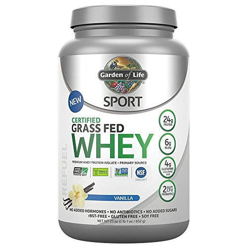 Garden of Life Sport Certified Grass Fed Clean Whey Protein Isolate, Vanilla, 23oz (1lb 7oz / 652g) Powder