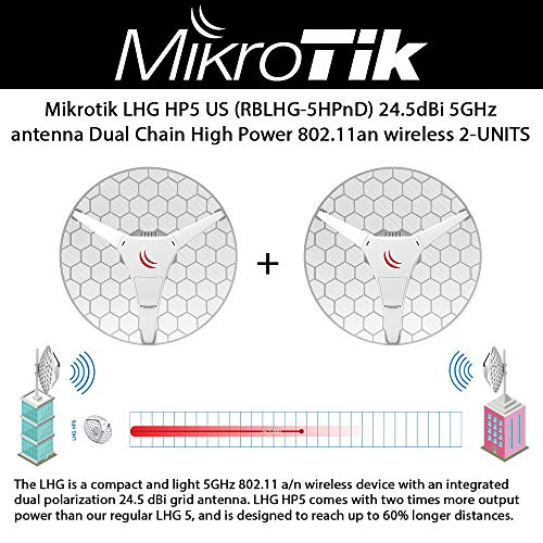 Mikrotik LHG HP5-US (RBLHG-5HPnD) 2-UNIDS 24.5dBi 5GHz CPE/punto a poin Antena de doble cadena de alta potencia 802.11an inalámbrica, alcance hasta un ...