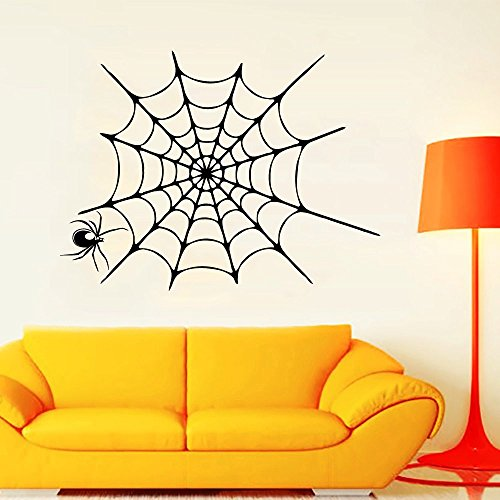 Happy Halloween Wall Decal Spider in a Web Vinyl Decal Halloween Sticker Home Interior Design Living Room Art Murals Kids Room -