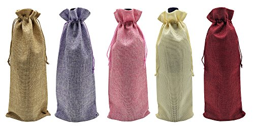 Ankirol 10pcs Burlap Bottle Bags With Drawstring Mix Colors Gift Packaging Wine Bags 6x14 inch Reusable Bottle Wrap Dresses Pouches