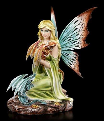 Elfen Figur - Daleone mit zwei Drachen Babys - Feen Elfenfiguren