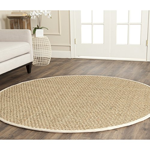 Safavieh Natural Fiber Collection NF114J Basketweave Natural and Ivory Summer Seagrass Round Area Rug (4' (Round Fiber)