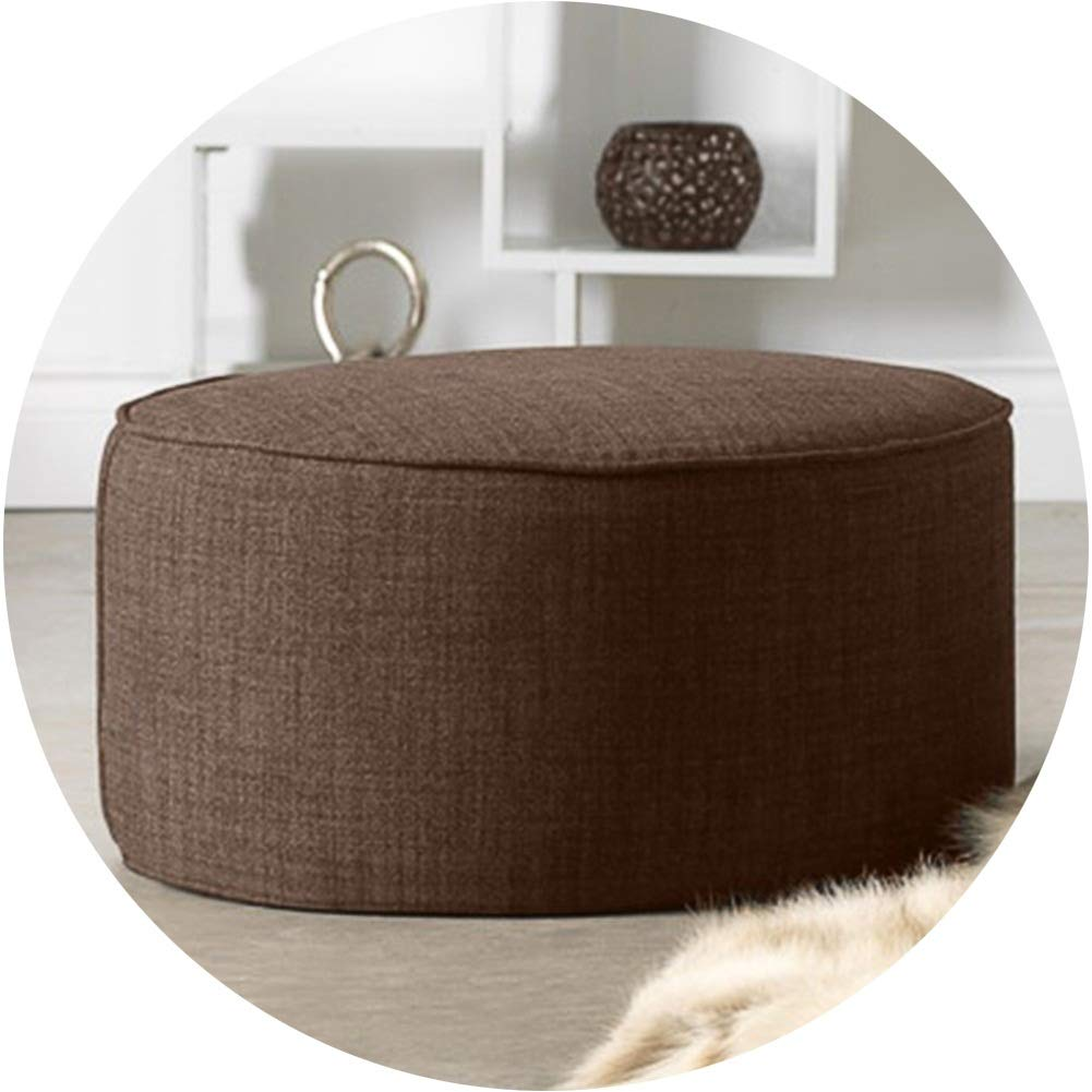 Foot Rest ZHAOHUI Pouffes and Footstools Ottoman Linen Round Detachable Cleaning Wood Frame Prevent Swelling and Soreness (Color : Brown, Size : 35.4''x35.4'') by ZHAOHUI-Foot Hammock