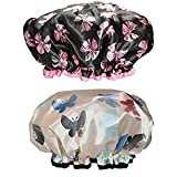 Large Waterproof Double Layers Shower Caps Washable for Women Girls with Long Hair 2 Pack