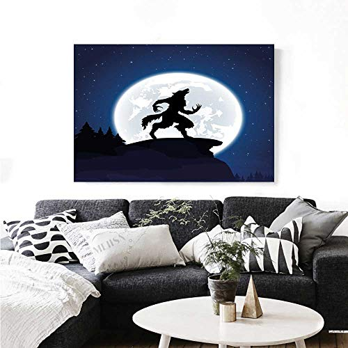 Warm Family Wolf Canvas Wall Art for Bedroom Home Decorations Full Moon Night Sky Growling Werewolf Mythical Creature in Woods Halloween Wall Stickers 24