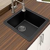 Winpro New Black Granite Quartz 16 5/8' x 16 5/8'x 8' Single Bowl Dual Mount Bar Sink
