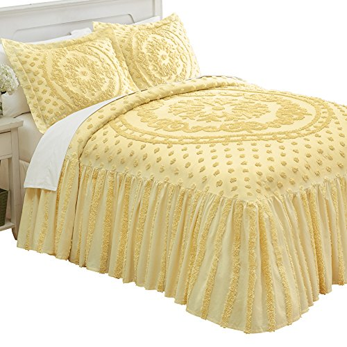 Isabelle Medallion Chenille Bedspread, Yellow, Queen