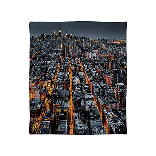(C COABALLA Warm Flannel Blanket,City,for Folding Bed Crib, Stroller, Travel, Couch and Bed,Size Throw/Twin/Queen/King,Avenues Converging Towards Midtown in New York)