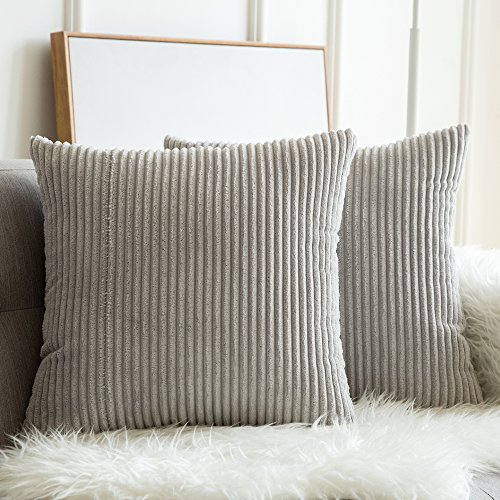 Corduroys Cotton Vintage (MIULEE Pack of 2, Corduroy Soft Soild Decorative Square Throw Pillow Covers Set Cushion Cases Pillowcases for Sofa Bedroom Car 20 x 20 Inch 50 x 50 cm)