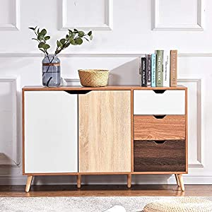 Huisen Furniture Multi Wood Storage Cabinet with Drawers Large Kitchen Cupboard Long Sideboard Living Room Entryway Door Bedroom Chest of Drawers with 2 Door 3 Drawers 120CM/4FT