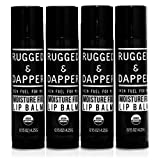 RUGGED & DAPPER – Lip Balm for Men – 4 Pack – Organic & 100% Natural Ingredients, Matte Chapstick Set – Moisturizes with a Shine-Free Finish – Fresh Eucalyptus Mint Flavor
