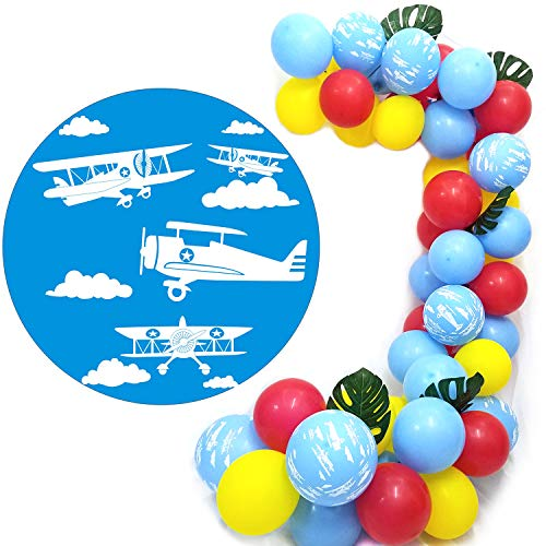Airplane Party Balloons Pack of 80 - Red Yellow Blue Latex Balloons With Biplane Vintage Airplane Party Balloons For Air Force Theme Party Boy Girl Birthday Party Decorative ()