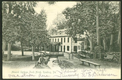 (Mineral Springs Park Hotel Reading PA undivided back postcard 1905)