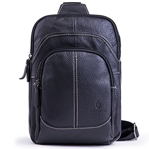 Genuine Leather Shoulder Sling Backpack Bag Unisex Outdoor Crossbody Sling Pack Sport (Large Genuine Leather Backpack Bag)