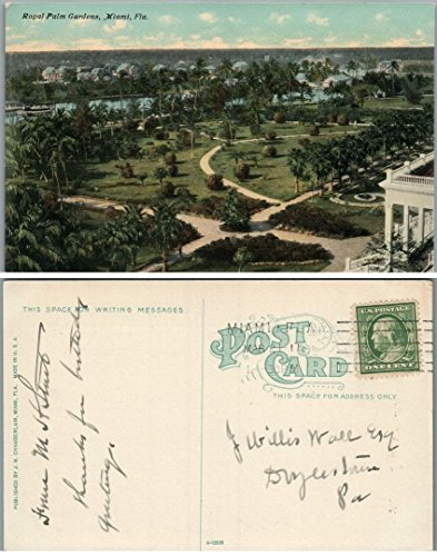 ROYAL PALM GARDENS MIAMI FL ANTIQUE POSTCARD]()