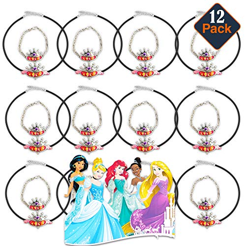 Disney Princess Party Favors for Girls Kids - 12 Disney Princess Necklace and Bracelet Sets (Disney Princess Party Supplies Bundle)]()