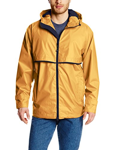 Charles River Apparel Men's New Englander Waterproof Rain Jacket (Reg & Ext Sizes), Yellow/Navy, M