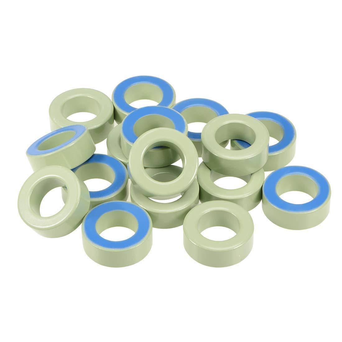 ZCHXD Toroid Core, Ferrite Chokes Ring Iron Powder Inductor Ferrite Rings, Light Green Blue 16pcs, 26.9 x 45 x 16.8mm