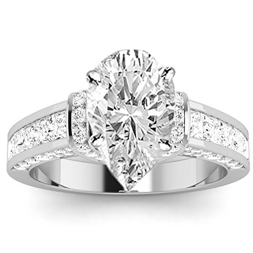 14K White Gold 1.48 CTW Contemporary Channel Set Princess And Pave Round Cut Diamond Engagement Ring w/ 0.58 Ct GIA Certified Pear Cut F Color SI1 Clarity Center