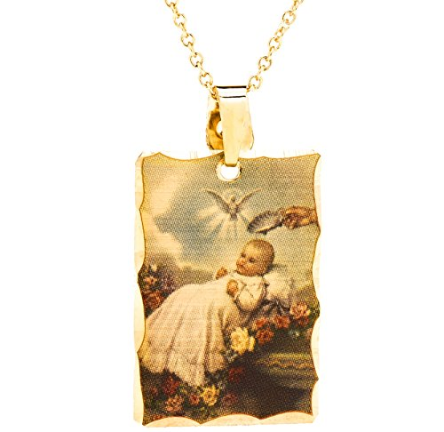 Baptism Gift for Baby Boys and Girls, 24K Gold Over Semi-Precious Metals, Etched Pendant Necklace, Comes in a Box or Pouch for Easy Gift Giving, 18 (14k Baby Box)