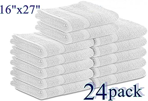 Cotton Salon Towels (24-Pack, White,16x27 inches) - Soft Absorbant Quick Dry Gym-Salon-Spa Hand Towel (White) (100%