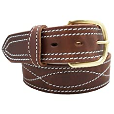 "Men's Harness Leather Work Belt - 1 1/2"" w/ Decorative Figure 8 Stitching"