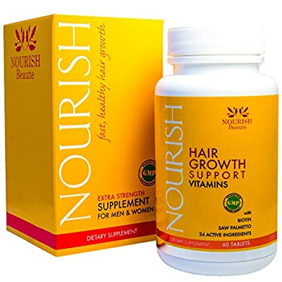 NOURISH Vitamins for Hair Growth support -100% GUARANTEED! Biotin, Saw Palmetto, plus 22 volumizing ingredients to help make hair grow faster. A NATURAL DHT BLOCKER and regrowth treatment formulated especially for ALOPECIA and thinning hair in men and wom