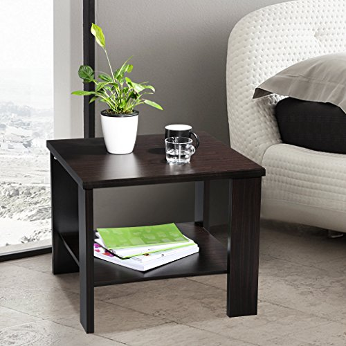 LANGRIA Square End Table Side Table Bedroom Night Stand with Bottom Shelf Cabinet Storage for Living Room, Accent Coffee Table Minimalist Square, Solid Wooden Construction, Easy Assembly, Black Walnut