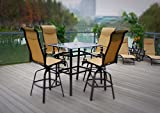 5pc Sorrento Outdoor Premium Sling Aluminum Swivel Patio Bar Set