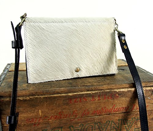 White Leather Cross Body Bag - Fold-over White and Black Cowhide Purse by Julie Meyer Handbags