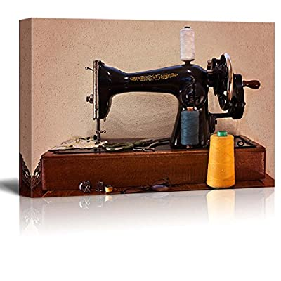 Canvas Prints Wall Art - Old Sewing Machine with Scissors and Glasses Retro/Vintage Style | Modern Wall Decor/Home Decoration Stretched Gallery Canvas Wrap Giclee Print & Ready to Hang -16