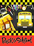 Wamika Back to School House Flag 28 x 40 Double Sided, School Bus Backpack Pencil Garden Yard Flags Outdoor Indoor Banner for Home Welcome Back Decorations